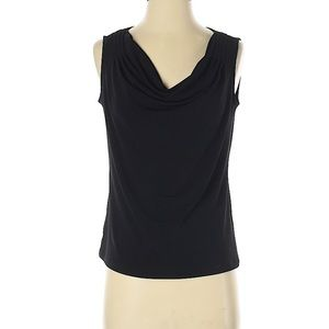 Grace black sleeveless cowl neck top